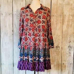 EN CREME Boho Floral Tunic Top/ Dress L